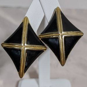 Timeless Vintage Gold & Black Enamel Earrings